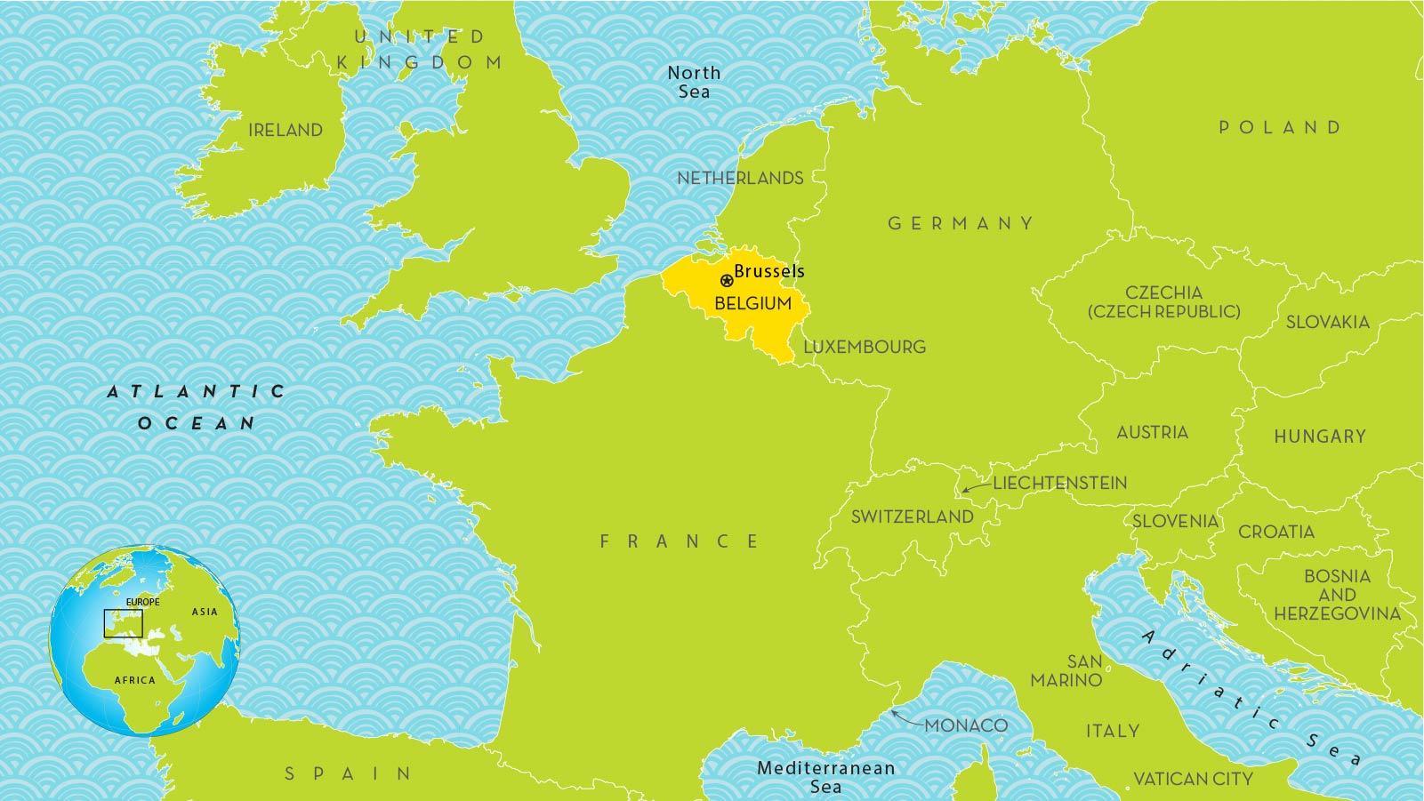 Bryssel Belgia Kartta Euroopan Kartta Brysselin Euroopassa Belgia