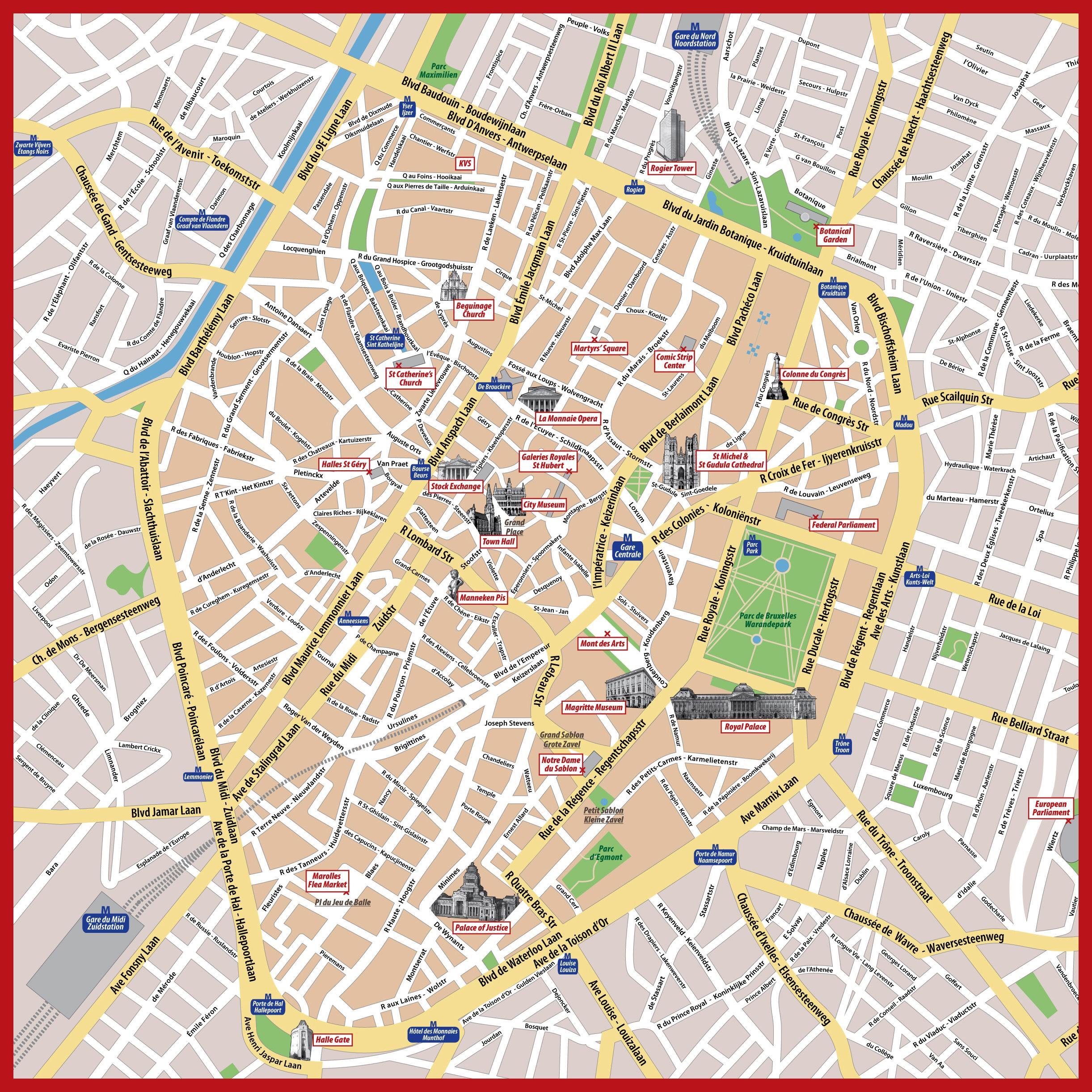Bryssel Tulosta Kartta Turisti Kartta Brysselin Tulostettava