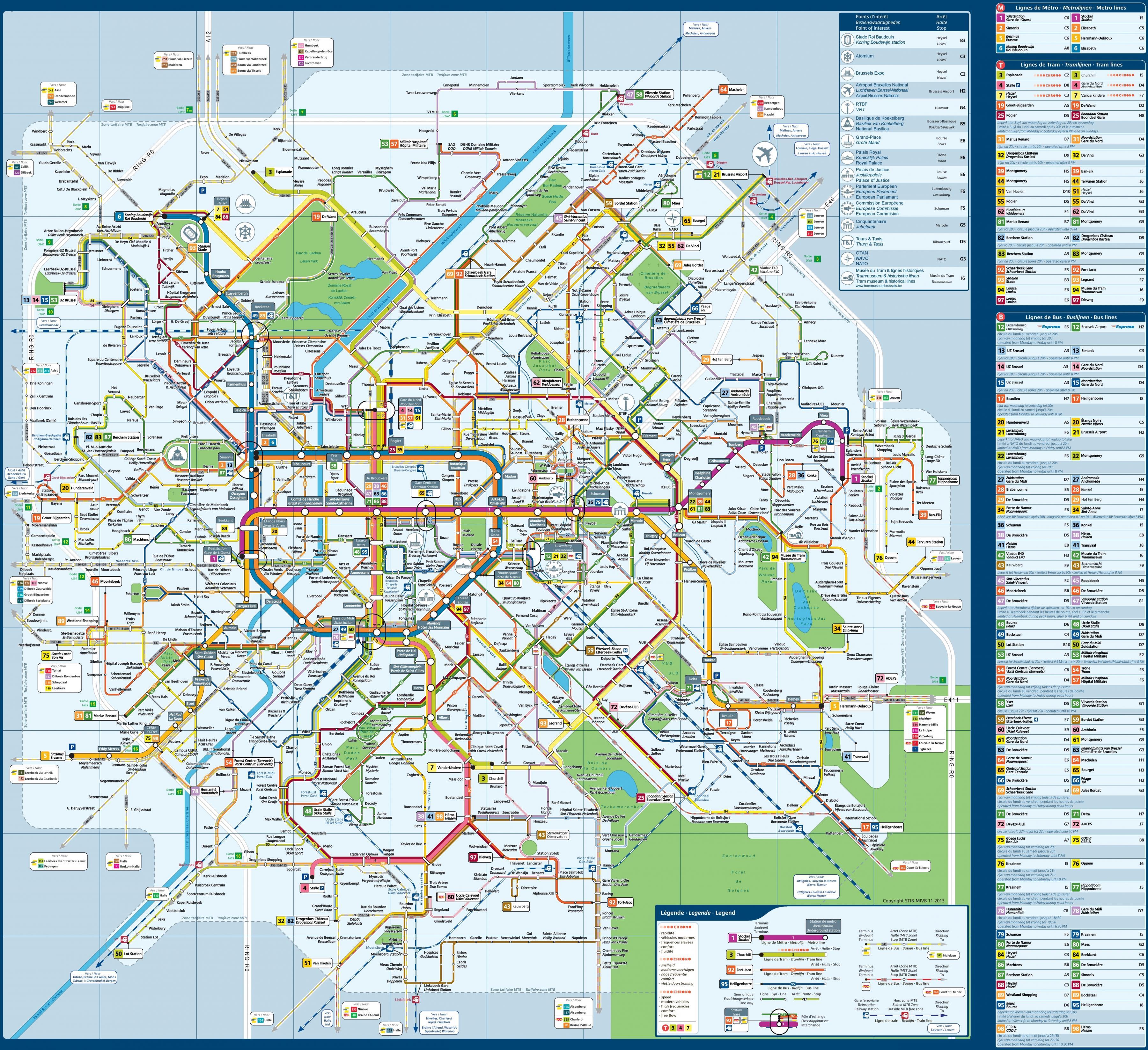 Brysselin Julkinen Liikenne Kartta Kartta Brysselin Julkinen