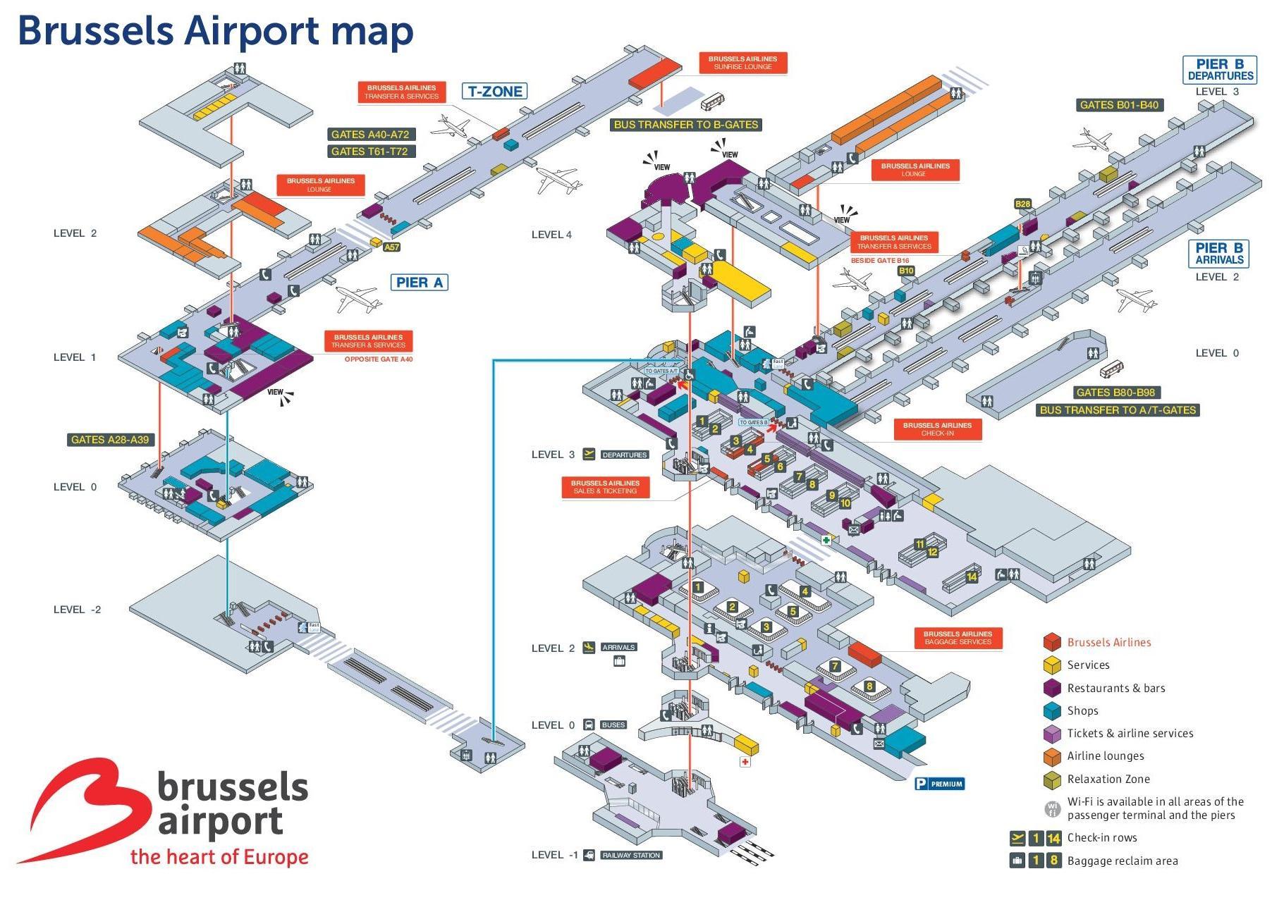 Brysselin Lentokentta Kartta Bryssel Lentokentta Kartta Belgia