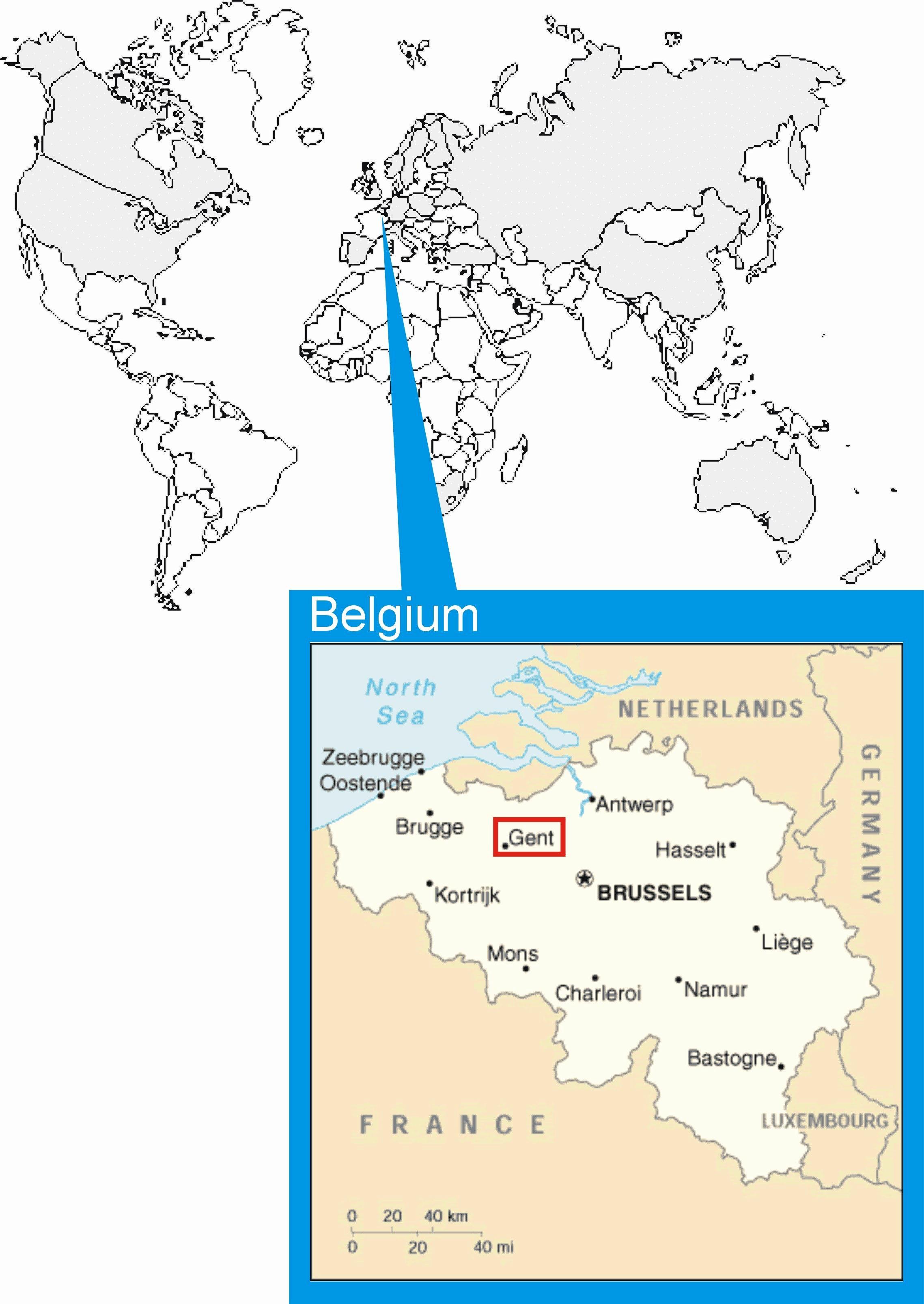 Missa On Bryssel Kartalla Kartta Jossa Bryssel Belgia