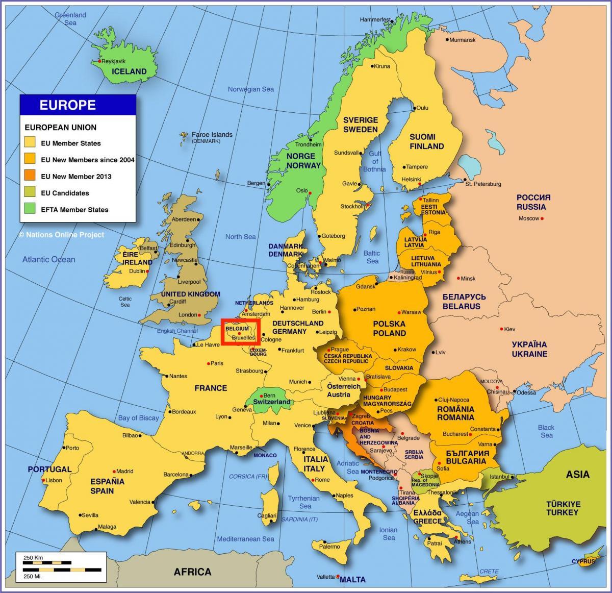 Bryssel Kartta Eurooppa Euroopan Kartta Osoittaa Bryssel Belgia